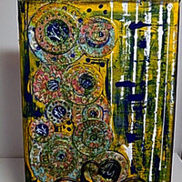 Circular Thought Mixed Media Canvas. Ready to Ship