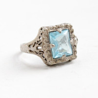 Antique Sterling Silver Art Deco Simulated Aquamarine Ring - Sterling Silver 1920s Open Filigree Faceted Pale Blue Glass Jewelry