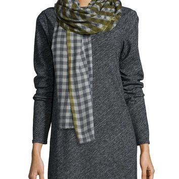 Merino Cashmere Plaid Scarf, Size: ONE SIZE, TOURMALINE - Eileen Fisher