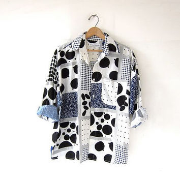Vintage GUESS shirt. Polka Dot Shirt. Loose Fit Shirt. Boyfriend Button Up Shirt. Abstract Modern Shirt.