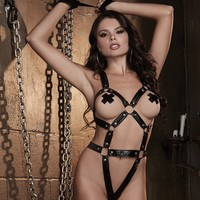 Faux Leather Harness Teddy