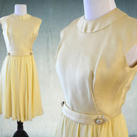 1960s Cocktail Dress Yellow Silk Dupioni and Chiffon Rhinestone Accents Abe Schrader