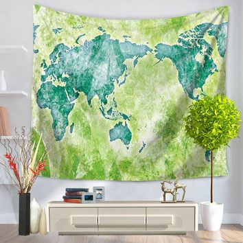 World Map Tapestry Polyester 3D Printed 150x130cm Wall Decoration Beach Mat Towels Mandala Tapestry Wall Hanging Tapiz Pared