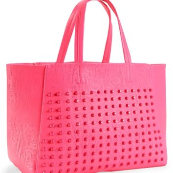 Studded Faux Leather Tote - Aeropostale
