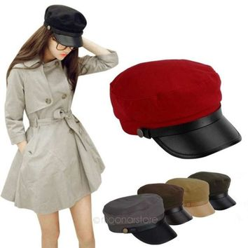 DCCKIX3 2014 Retro Women Men Leather Brim Flat Sailor Army Military Cadet Cap Sun Hats = 1932169284