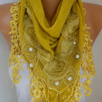 Mustard Knitted Floral Scarf Shawl Cowl Lace Bridesmaid Gift Bridal Accessories Gift Ideas For Her Women Fashion Accessories Mother Day Gift