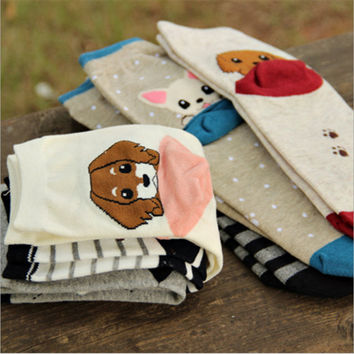 1 Pair  Newly Design Cute Cartoon Cat And Dog Socks Striped Pattern Women Cotton Sock Winter