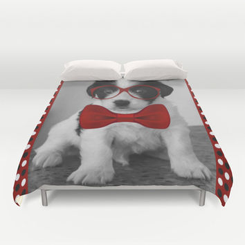 Puppy with Red Bow and Glasses Duvet Cover by tsuttles