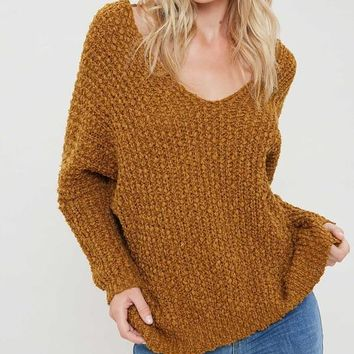 Carrie Popcorn Textured Sweater - Gold