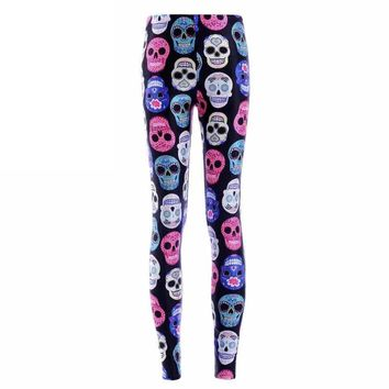 Colorful Skulls Printed Women Leggings