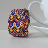 "knotted wide unisex adult friendship bracelet, colorful macrame cuff bracelet ""Persian carpet"", 15 cm (5,9 inches)"