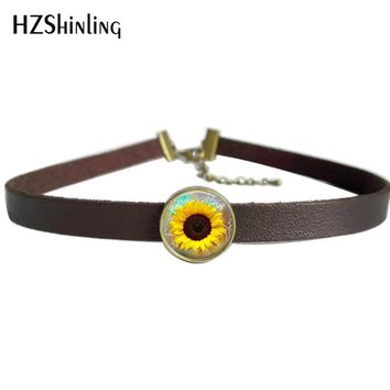 NEW Gold Sunflower Necklace Art Plant Jewelry Leather Choker Necklace For Women Glass Photo Pendants
