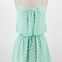 Blue Jagged Chevron Tank Dress