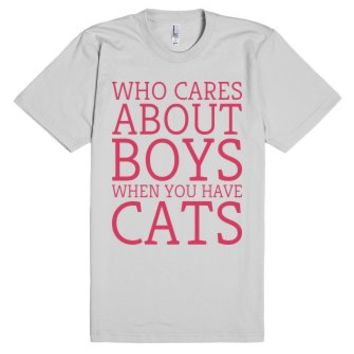 Who Cares About Boys-Unisex Silver T-Shirt