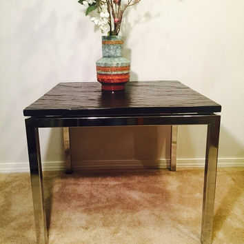 Mid-Century Modern Chrome Coffee Table with a Slate Top by Florence Knoll, 1960s