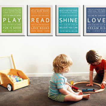 Typography art prints for kids playroom art Kids Wall by Wallfry