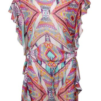 Jessica Simpson Women's Printed Fluttered Tunic Swim Cover