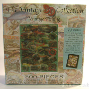 "Vintage Fishing Jigsaw Puzzle 500 Pieces 18""x24"" 3D Collection Picture Easel NEW"