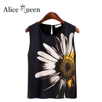 Ladies Sunflower Blouses Fashion Female 2016 New Summer Style Plus Size Sexy Floral Shirts Women Tops Chiffon Clothes
