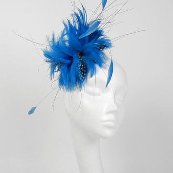 Dark Turquoise Cocktail Fascinator Hat for Weddings, Races, and Special Events With Headband