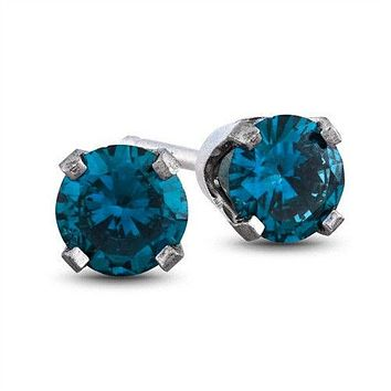 14K White Gold .36TCW Round Cut Blue Diamond Stud Earrings