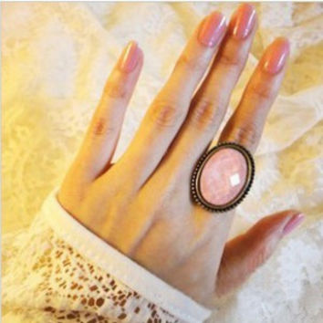 2016 New vintage ring oval cutout flower ring finger accessories, vintage cutout flower ring pink