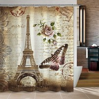 Paris Eiffel Tower Butterfly and Flower Print Shower Curtain Waterproof Mildew-proof Polyester Fabric Bathroom Accessories Home Decoration (Size: 180cm by 180cm, Color: Multicolor)