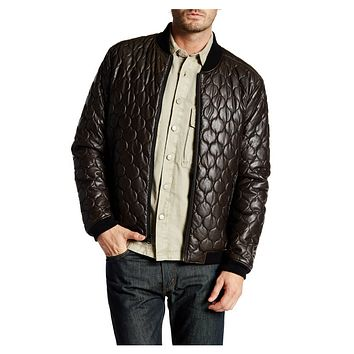 Levi's Brown Faux Leather Quilted Men's Bomber Jacket, Size XL