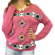 Cali Christmas Fushsia Aztec Tribal Sweater