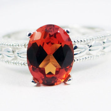 Orange Sapphire Oval Engraved Ring Sterling Silver, September Birthstone Ring, Orange Sapphire Filigree Ring, Sterling Silver Filigree Ring