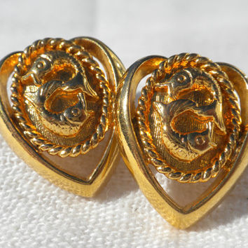 Pisces Earrings Nautical Earrings Heart Earrings Zodiac Earrings Astrological Jewelry Gold Tone Stud Post Earrings Valentines Gift