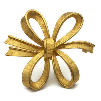 Monet Large Big Gold Tone Bow Brooch Pin - Open Design Vintage Signed Monet Tied Ribbon Bow - Textured Gold - Christmas