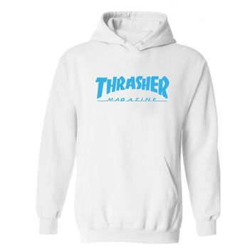 Thrasher series of hooded cashmere sweater and a variety of sports Blue letters