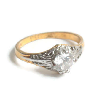 Crystal Faux Diamond Solitaire Ring Silver and Gold Tone Vintage