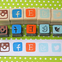 Hand Carved Mounted Social Media Icon Stamp -you can choose 1 stamp from: Instagram, Facebook, Etsy, Twitter, Twitter Bird-