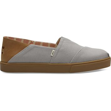 TOMS - Men's Classics Venice Collection Drizzle Grey Textured Twill Convertible Cupsole Slip-Ons