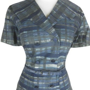 Vintage 40s 50s Blue Plaid Cotton Party Dress W32