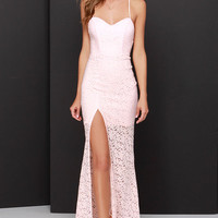 Sweetheart to Heart Peach Lace Maxi Dress