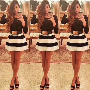 Summer Hot Sale Stripes Mini Dress [8096400199]