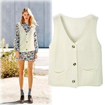 Autumn Winter New Style V-Neck Sleeveless Solid Color All Matched Preppy Style Women Cardigan Knitted Sweater