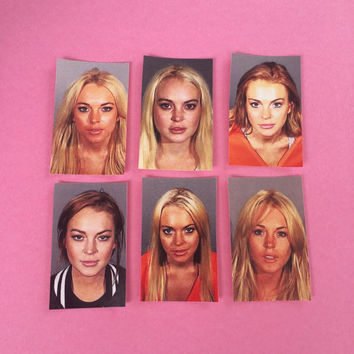 Lindsay Lohan Mugshot Inspired Sticker Set