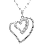 1/10ct TW Diamond Heart in Heart Pendant-Necklace in Sterling Silver