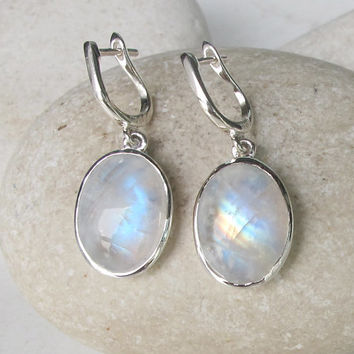 Sale Silver Earrings- Moonstone Earrings- Rainbow Moonstone Earrings- June Birthstone Earrings- Earrings- Leverback Earrings- Bezel Earrings