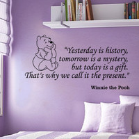 Winnie the Pooh Yesterday is history inspirational wall phrase word saying vinyl decal sticker 31i