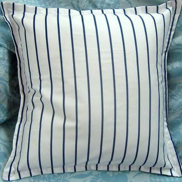 PALM HARBOR Stripe - Navy | White Pair Custom Made Decorative Square Pillow Covers