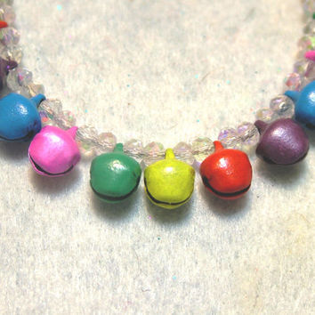 Bracelet, Multi Colored Jingle Bells with Clear Czech Luster Beads, Handmade, Jewelry