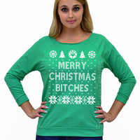 Off Shoulder, Merry Christmas Bitches, Funny Christmas Tee, Ugly Christmas Shirt, Christmas Sweater, Ugly Christmas Sweater, Christmas 2015