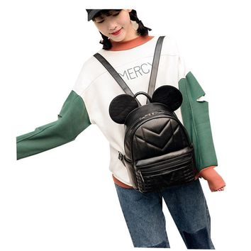 Mickey Ear Design Fashion Korea Travel Ruck pu leather backpack for Teenage Girls Cute Women Backpacks