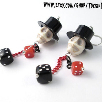 SKULL DICES EARRINGS   psychobilly rockabilly  tattoo top hat skull punk
