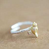 Cute bird branch open adjustable ring,925 Sterling silver ring,Silver ring